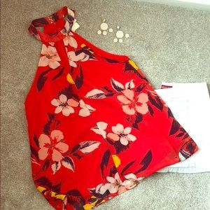 NWOT Red Floral Blouse